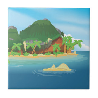 Tropical Treasure Island Small Square Tile
