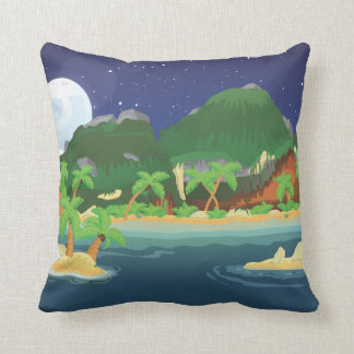 Tropical Treasure Island Throw Pillow