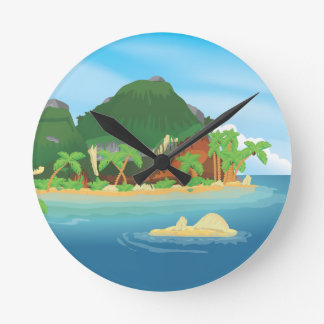 Tropical Treasure Island Wall Clock