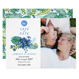 Tropical Tropics Leaves | Save the Date Photo Card