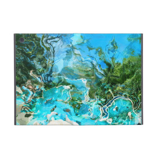 Tropical Turquoise Ocean Blue & Seaweed Green Cases For iPad Mini