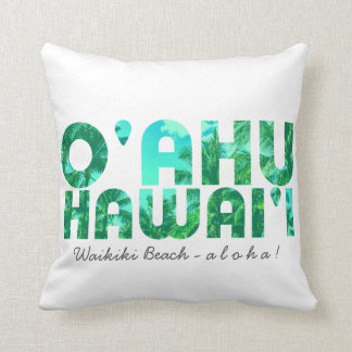 Tropical Typography Oahu Hawaii Keepsake Cushion