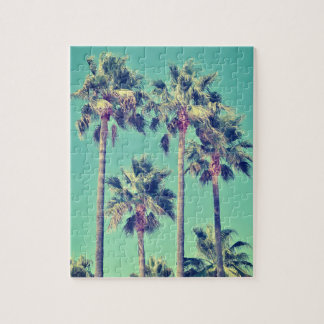 Tropical Vintage Palm Trees on Teal Jigsaw Puzzle