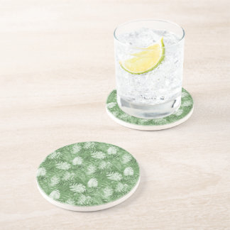 Tropical Watercolor Green Leaves Coaster