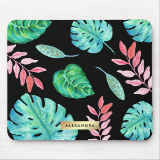 Tropical Watercolor Leaves on Black with Faux Gold Mouse Pad