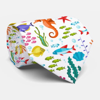 Tropical waters marine life and animals tie
