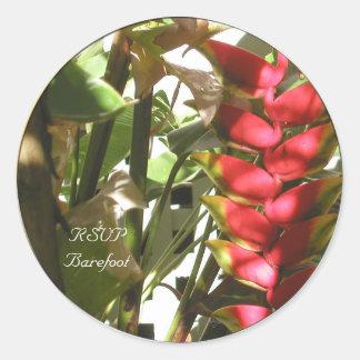 Tropical Wedding Flowers Custom Envelope Seals