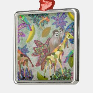 Tropical Wildlife Habitat Silver-Colored Square Decoration