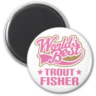 Trout Fisher Gift 6 Cm Round Magnet