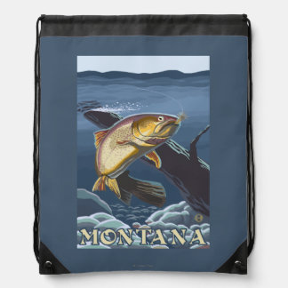 Trout Fishing Cross-Section - Montana Drawstring Bag