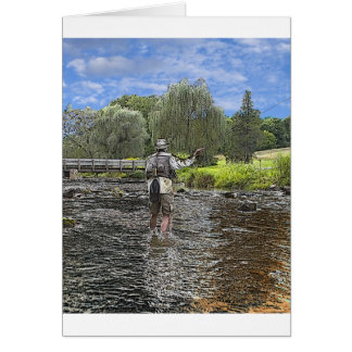 trout fly fishing greeting card