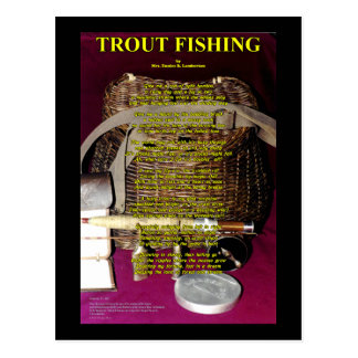 TRout Poem- Rod, reel and creel Postcard