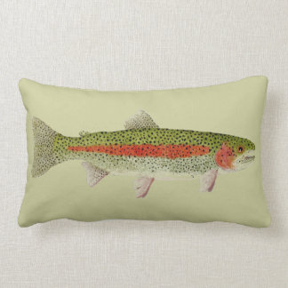 Trout Throw Pillow- Rainbow & Brown Trouts Lumbar Pillow