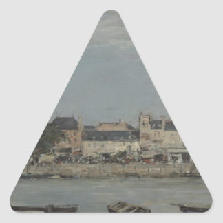 Trouville by Eugene Boudin Triangle Sticker
