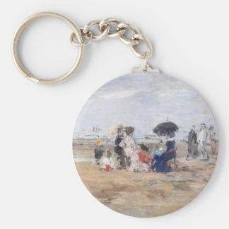 Trouville, Scène de plage - Eugène Boudin Basic Round Button Key Ring