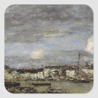 Trouville, the Port by Eugene Boudin Square Sticker