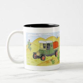 truck in the desert Two-Tone coffee mug