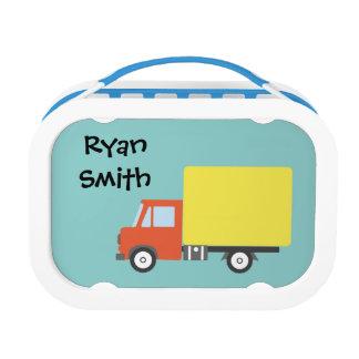 Truck light blue school lunch box customized name