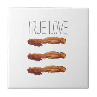 True Love Cut Out Streaky Bacon Artsy Small Square Tile