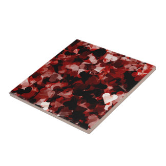 True Love Red Hearts Emotion with Black Pink Color Small Square Tile