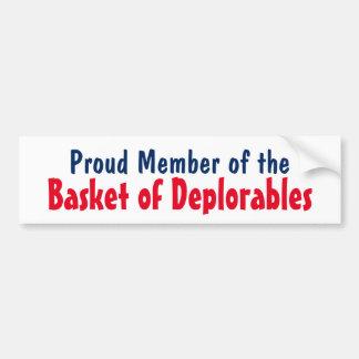 Trump Proud Member of the Basket of Deplorables Bumper Sticker