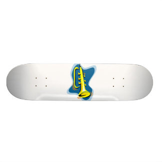 Trumpet Abstract Design Yellow with blue 19.7 Cm Skateboard Deck