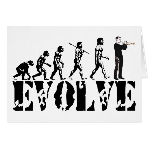 Trumpet Cornet Bugle Band Musical Music Evolution Greeting Cards