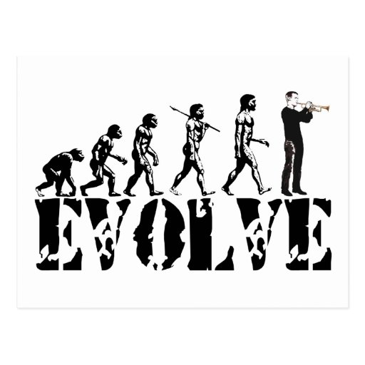 Trumpet Cornet Bugle Band Musical Music Evolution Post Card