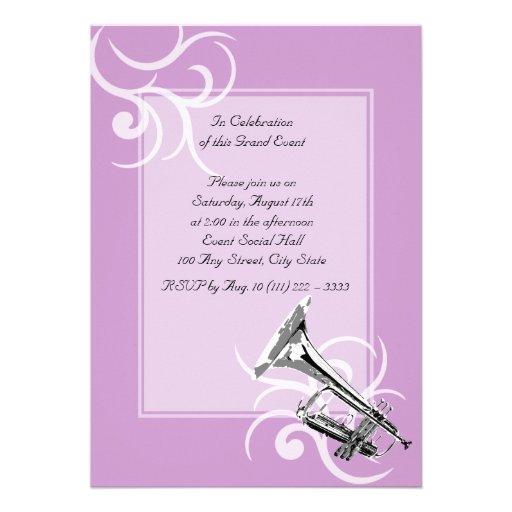 Trumpet Full Color Custom Invitations