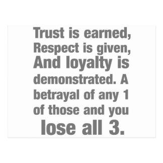 trust, loyalty, respect saying postcard