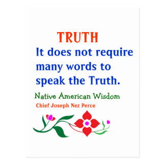 TRUTH :  American Indian Words of Wisdom Postcard