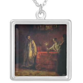 Tsar Boris Godunov  and Tsarina Martha, 1874 Silver Plated Necklace