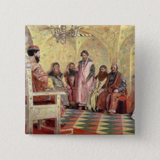 Tsar Mikhail Fyodorovich  with Boyars 15 Cm Square Badge
