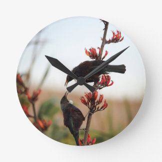 Tui birds on New Zealand flax Wallclocks