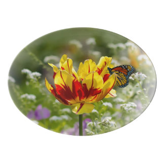 Tulip and Butterfly Porcelain Serving Platter