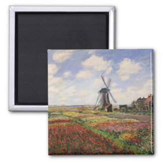 Tulip Fields with the Rijnsburg Windmill, 1886 Square Magnet
