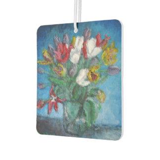 Tulip Flowers in Vase Car Air Freshener