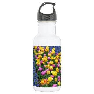 Tulips and bluebells flower garden 532 ml water bottle