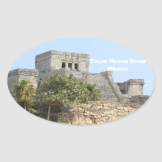 "Tulum Mayan Ruins Mexico Travel 4.5"" Stickers! Oval Sticker"