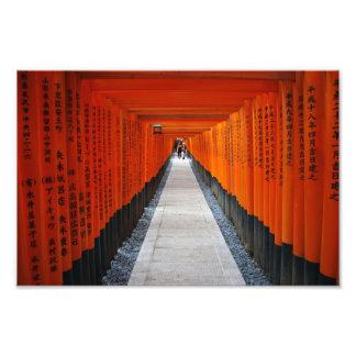 Tunnel of red shrine gates at Fushimi Inari, Kyoto Photo Print