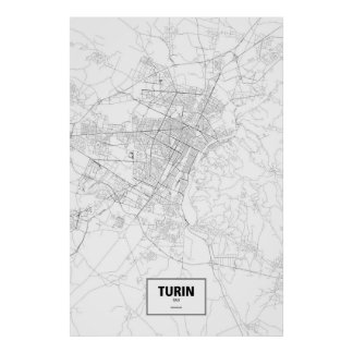 Turin, Italy (black on white) Poster
