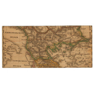 Turkey and Greece Map Wood USB 2.0 Flash Drive