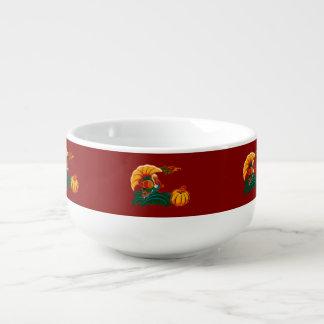 Turkey and Pumpkin Design Thanksgiving Soup Mugs
