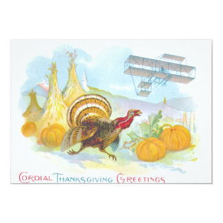 Turkey Chasing An Airplane In A Field Card