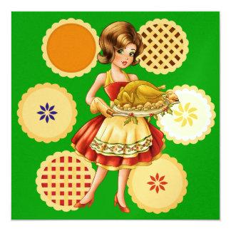 Turkey Dinner / Thanksgiving / Christmas 5.25x5.25 Square Paper Invitation Card