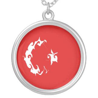 Turkey Gnarly Flag Round Pendant Necklace