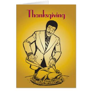 Turkey Man Carving Thanksgiving Retro Vintage Greeting Card