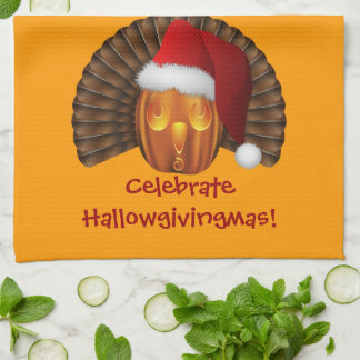 Turkey Pumpkin with a Santa Hat Hallowgivingmas Tea Towel