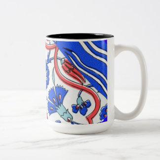 Turkish Tile Blue Flower Macro Pattern Two-Tone Coffee Mug