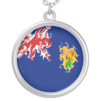 Turks and Caicos Islands Gnarly Flag Round Pendant Necklace